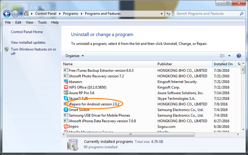 Uninstall iReparo for Android on Win 8