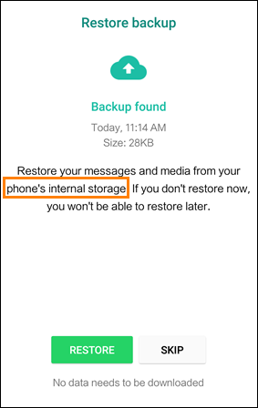 Transfer local WhatsApp backup to new phone