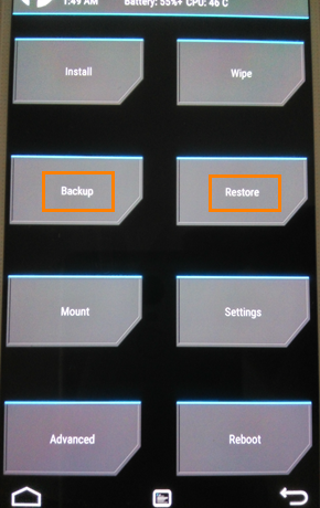 Make a Nandroid backup in recovery mode