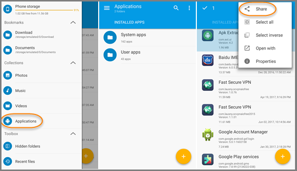Get APK from Installed App Android with File Manager